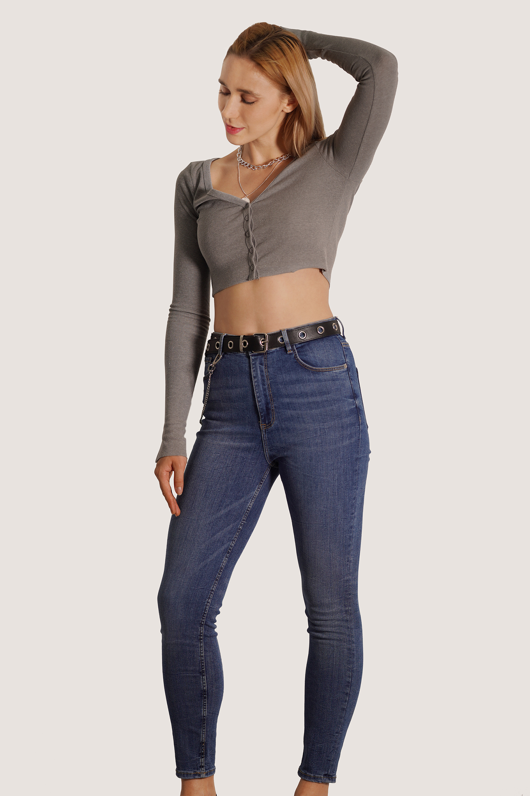 Long Sleeve Ribbed Knit Crop Top Ladies