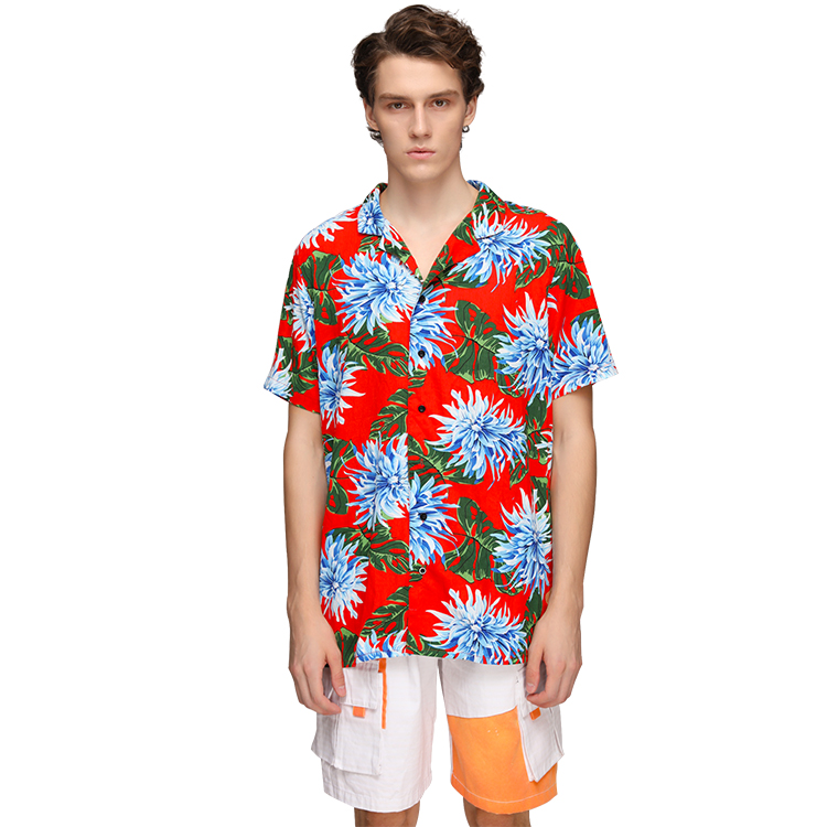 Custom Men Beach Floral Printed Shirts